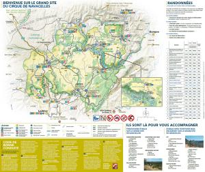 Wandel kaart van het gebied rondom Cirque de Navacelles