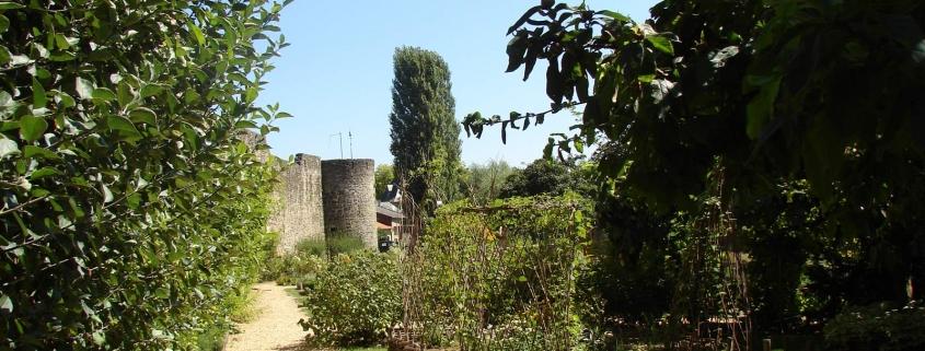 De middeleeuwse tuin met de verdedigingsmuur in Rodemack Frankrijk