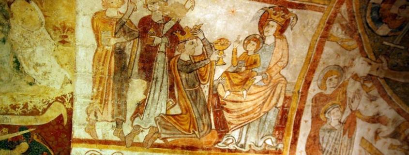Een fresco in het kerkje van Gargilesse-Dampierre in de Limousin