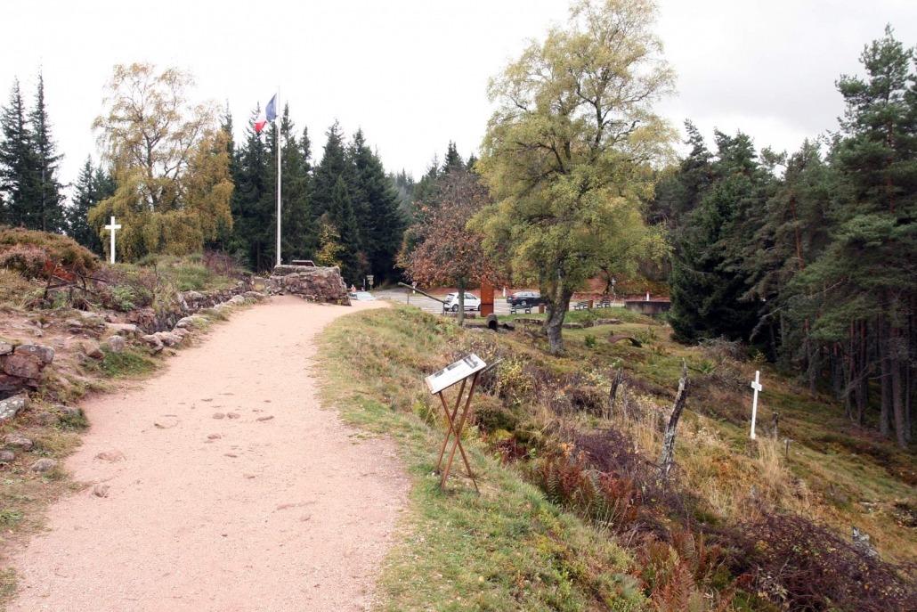 Loopgraven uit de Eerste Wereldoorlog in de Vogezen