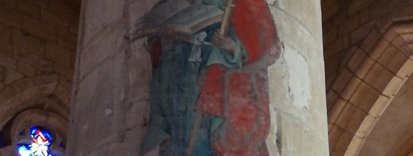 Schildering op een pilaar in de kerk van Marville in Lotharingen