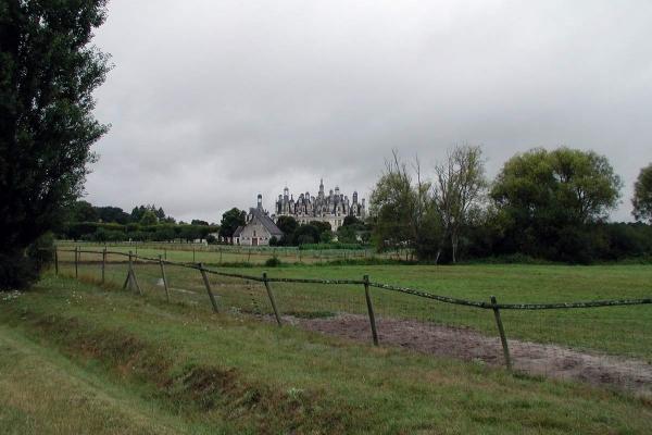 Het kasteel van Chambord van een afstandje gezien